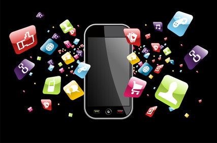 Iphone application icons splash out of phone on black background. Vector file layered for easy manipulation and customisation.